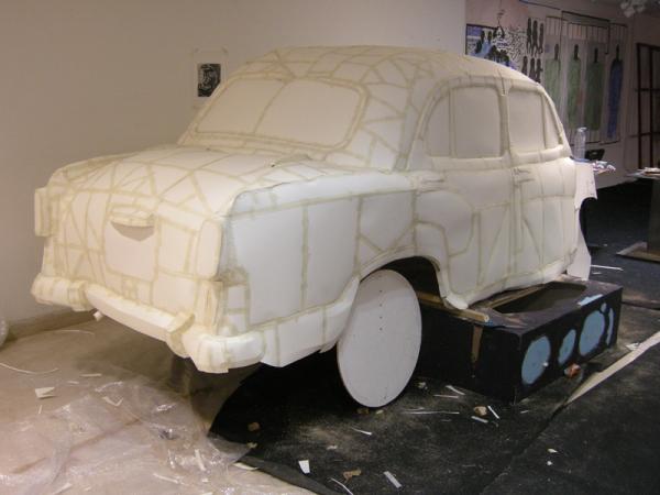 Destruction on an Ambassador car